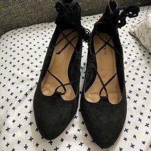 Black Lace Up Platform Heels - Size 8W